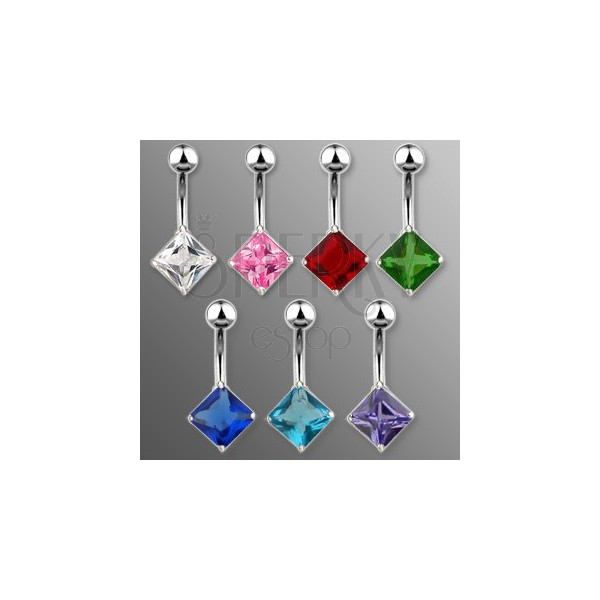 Belly button ring with rhombic zircon