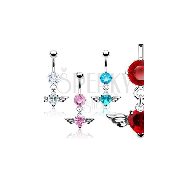 Belly ring with big heart-shaped zircon and bird wings