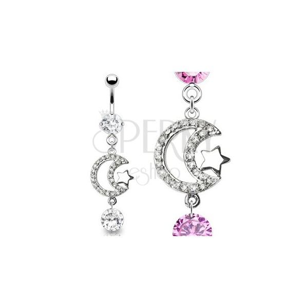 Luxurious belly ring - zirconic crescent and shiny star
