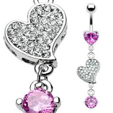 Luxurious belly ring - heart with embedded zircons