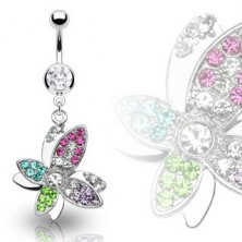 Luxurious steel belly ring with colorful zirconic flower