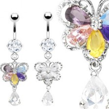 Flower belly ring with five petals and clear dangle zircon