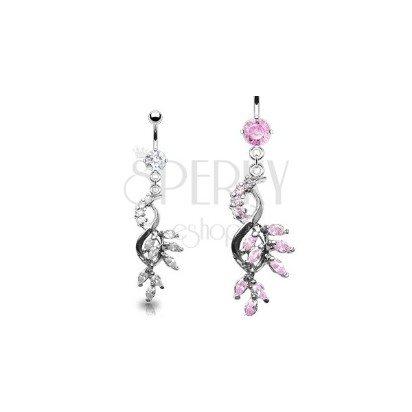 Luxurious belly ring - tangled zirconic leaves