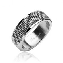 Stainless steel mesh ring with shiny lining