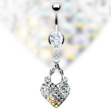 Heart belly ring decorated with clear and AB rhinestones