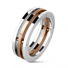 Triple stainless steel ring with golden middle part