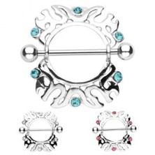 Nipple piercing - ornaments and zircons, 2 pieces
