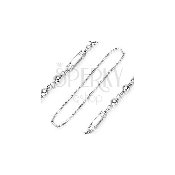 Stainless steel neckalce - hexagonal links and ball beads