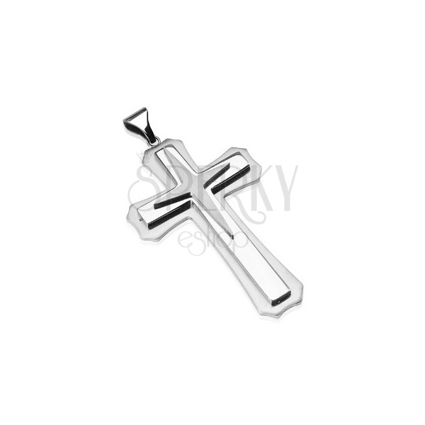Stainless steel pendant - cross with star