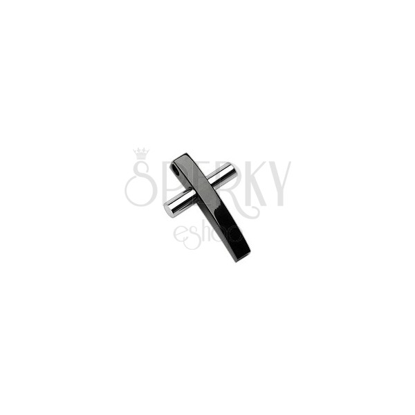 Two-colour stainless steel cross pendant