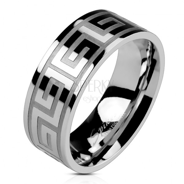 Wedding ring made of steel of silver colour, shiny surface, Greek key, 8 mm