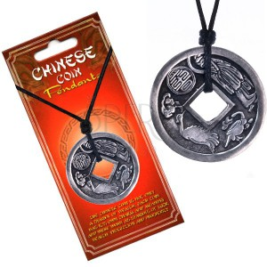 Black string necklace pendant chinese coin zodiac jewellery black string necklace pendant chinese coin zodiac mozeypictures Choice Image
