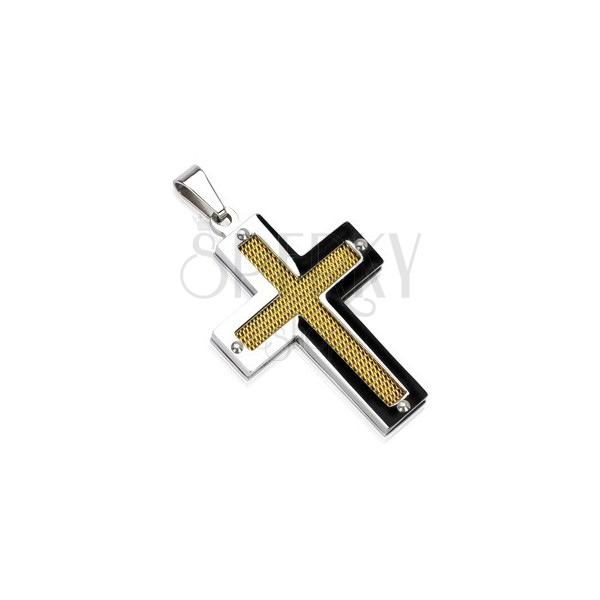 Stainless steel cross with golden mesh centre and rivets