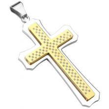 Massive cross in gold-silver colour with chessboard pattern