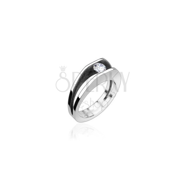 Stainless steel ring with 5 mm zircon