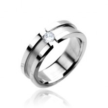 Stainless steel ring with zircon - matt centre with shiny lining