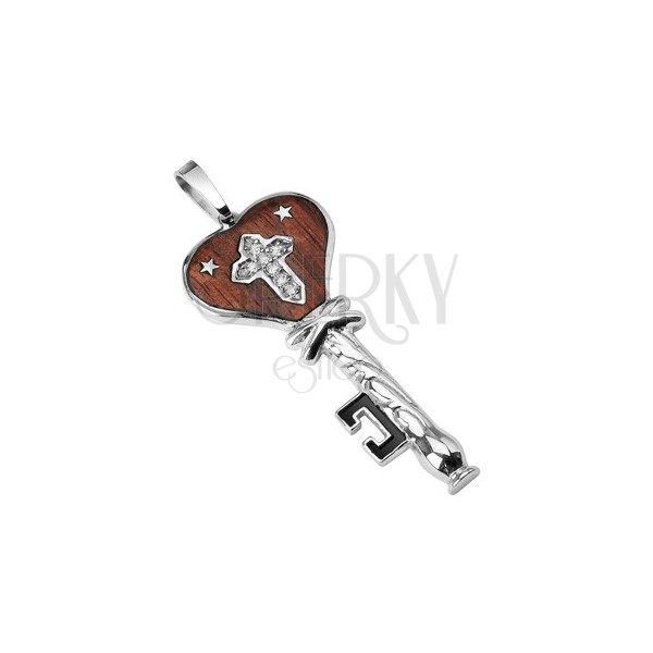 Steel pendant - wooden key with stars