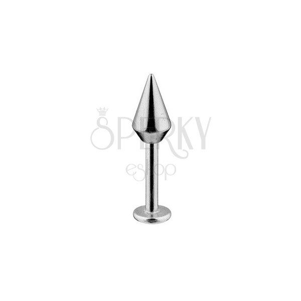 Labret - wider smooth quadricone, stainless 316L steel, width 1,6 mm