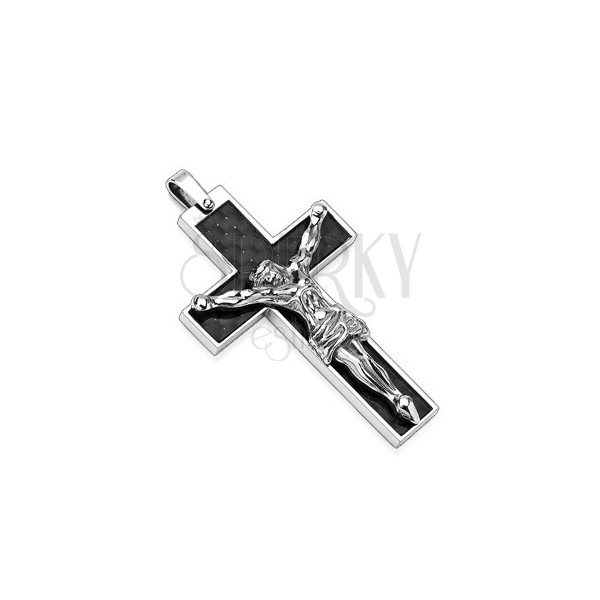 Stainless steel pendant - black cross with silver Jesus