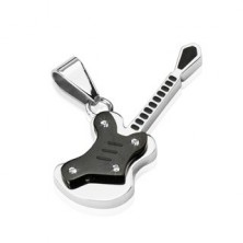 Stainless steel pendant - small black guitar