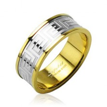 Stainless steel wedding ring of gold colour with center stripe of silver colour