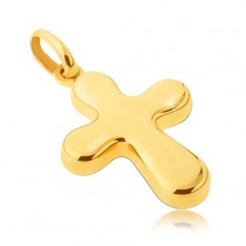 Gold pendant 14 karat - thick, glossy cross with rounded tips