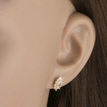 Earrings made of 14K gold - oval sparkling zircon flowers