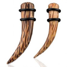 Ear expander - natural coconut wood, curved