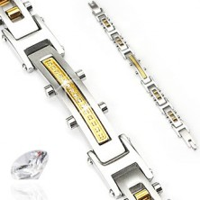 Steel bracelet with zircons and two colour cylinders
