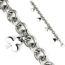 Steel charm bracelet with card symbols