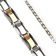 Surgical steel bracelet with colourful links