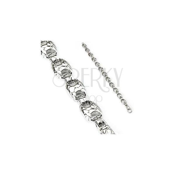 Steel bracelet with pebbles - snakeskin