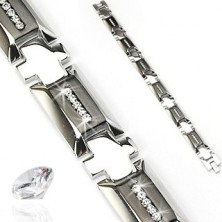 Steel bracelet with cross and zircons
