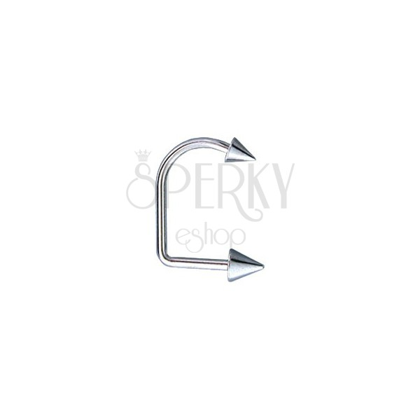 Lippy loop chin and lip piercing with two spikes 4 / 5 mm