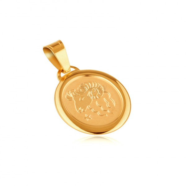 Pendant made of gold 14K - ARIES, zodiac sign in glossy frame