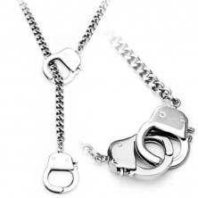 Chain made of surgical steel, silver colour, small handcuffs
