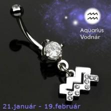 Zodiac belly button ring - Aquarius
