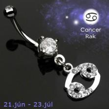 Zodiac belly button ring - Cancer