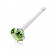 Nose piercing made of stainless steel - straight barbell, round zircon of various colours