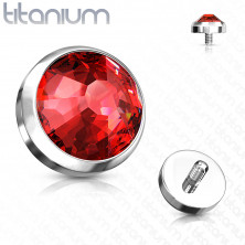 Spare implant head made of G23 titanium - clear round zircon, 4 mm