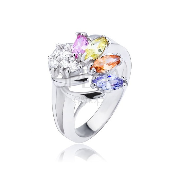 Shiny ring in silver colour, fan made of colourful and clear zircons