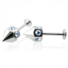 Pair of spike labrets with blue zircons