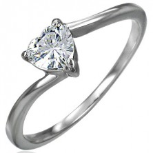 Engagement steel ring, zircon clear heart, narrow bent shoulders