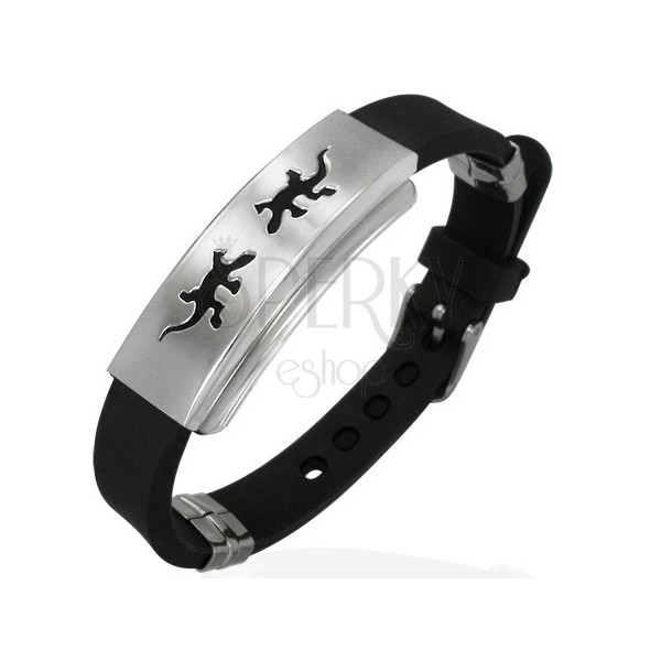 Rubber bracelet with dancing lizards