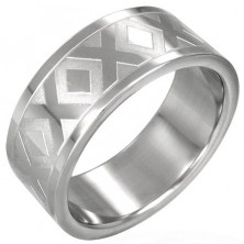 Stainless steel wedding ring with X pattern, 8 mm