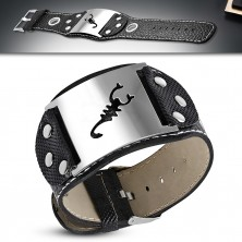 Leather imitation bracelet - token with motif of scorpion, circles, rivets