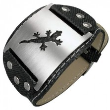 Imitation leather bracelet with studs and lizard