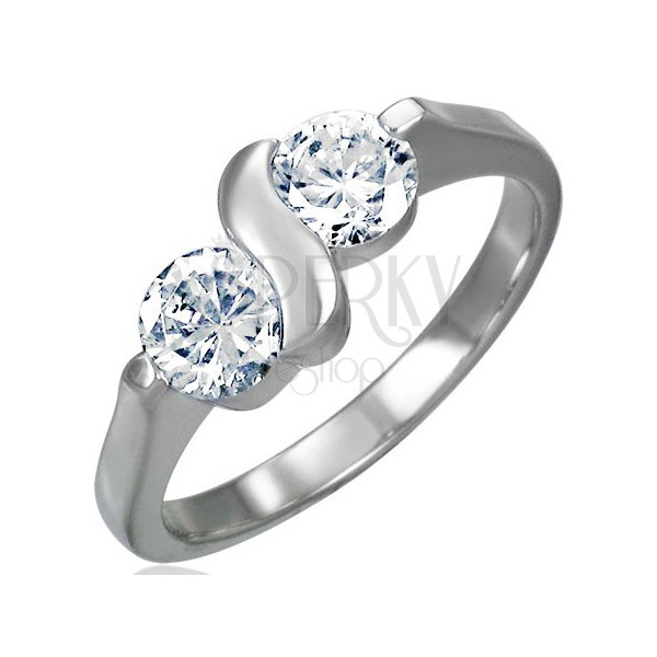 Engagement ring made of surgical steel with double zircon with letter S