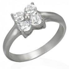 Steel ring with zirconic flower