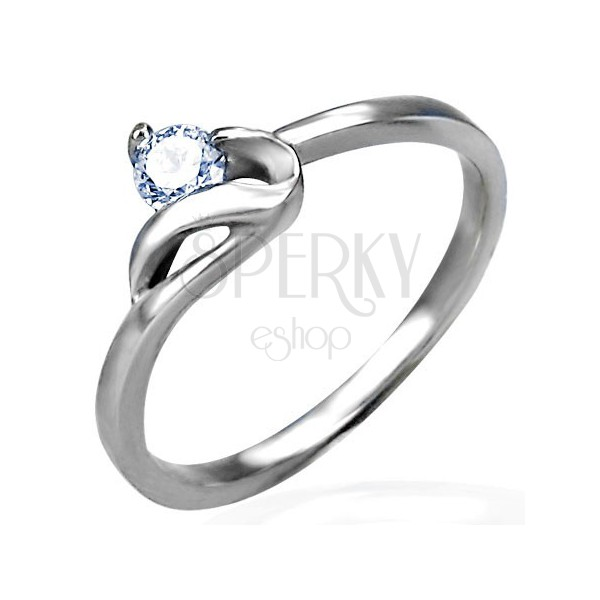 Engagement ring in silver colour, 316L steel, round clear zircon and wavy shoulder